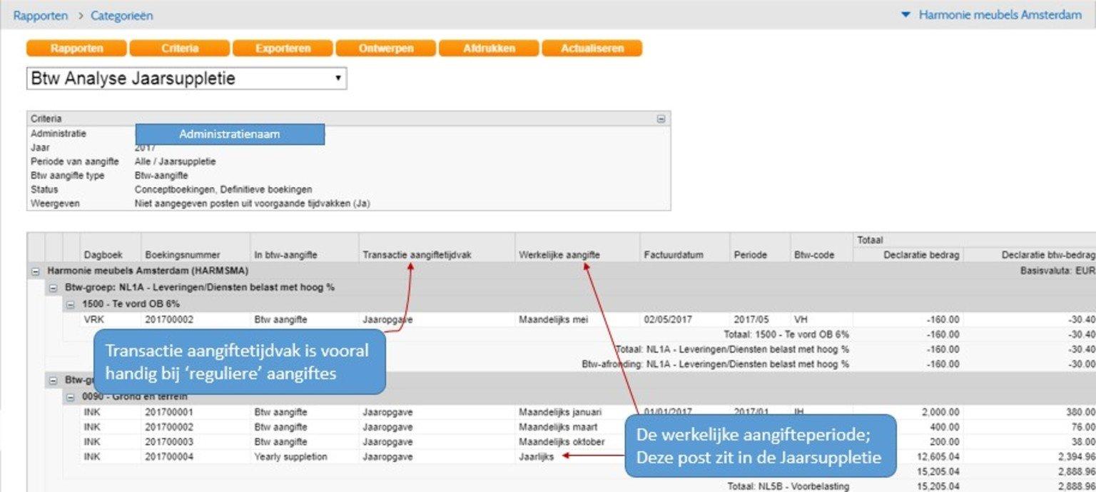 Screenshot van elektronische belastingaangifte jaar suppletie vanuit Twinfield