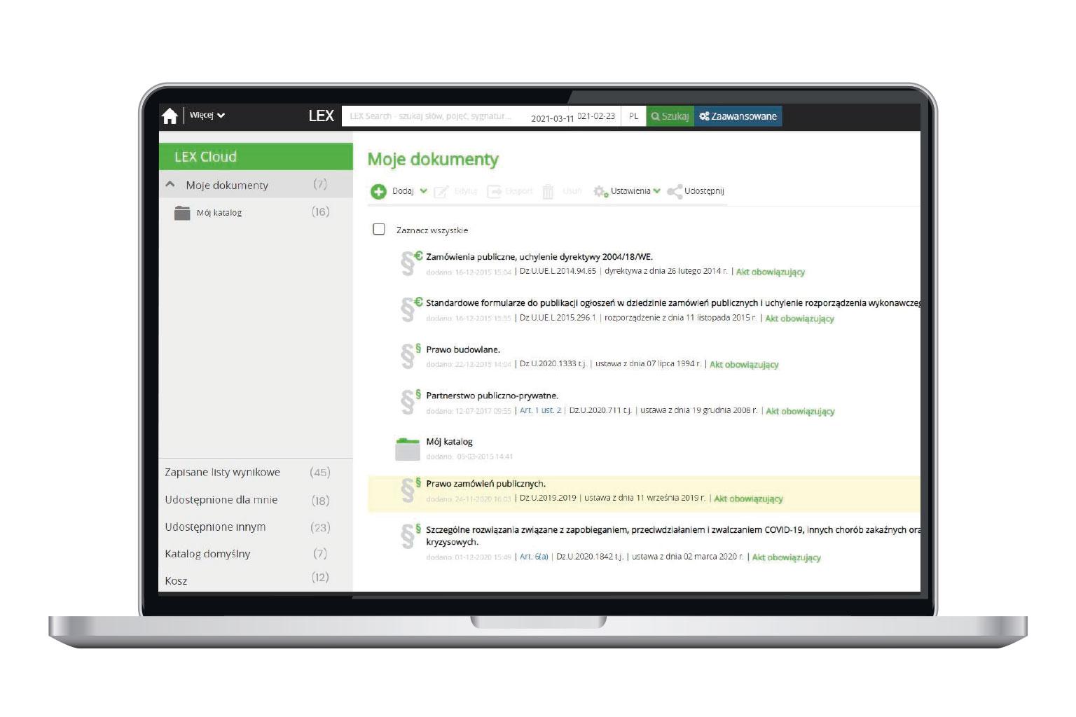 Aktówka lub LEX Cloud w LEX Zamówienia Publiczne