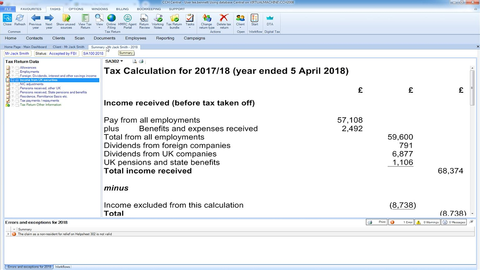CCH Personal Tax - Realtime and Interactive Tax Computations