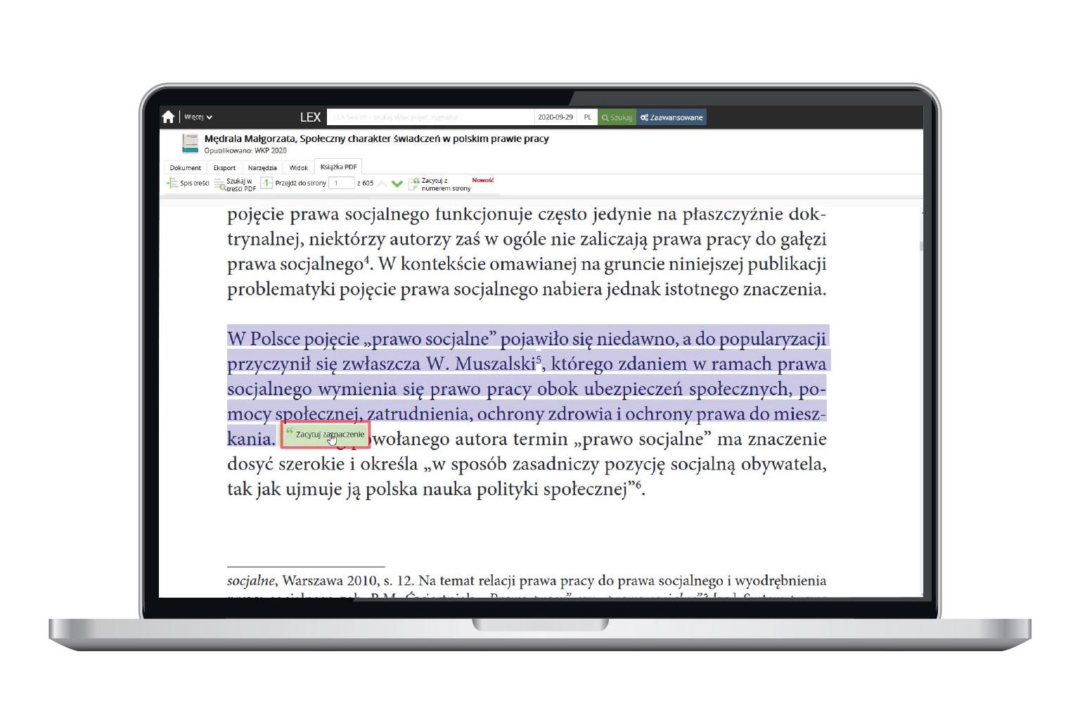 Cytowanie fragmentu publikacji z LEX Context