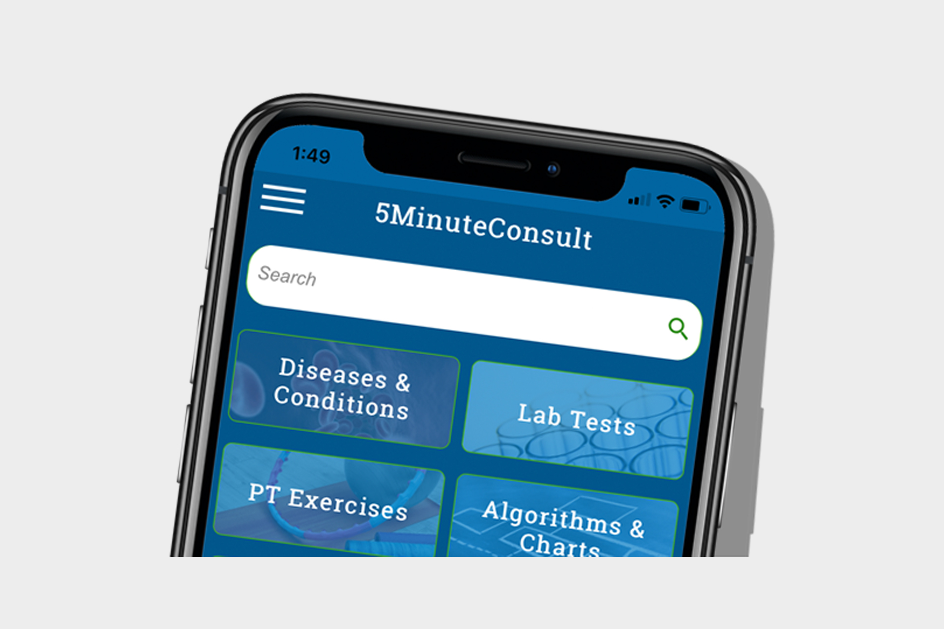 Screenshot of 5MinuteConsult on a smartphone