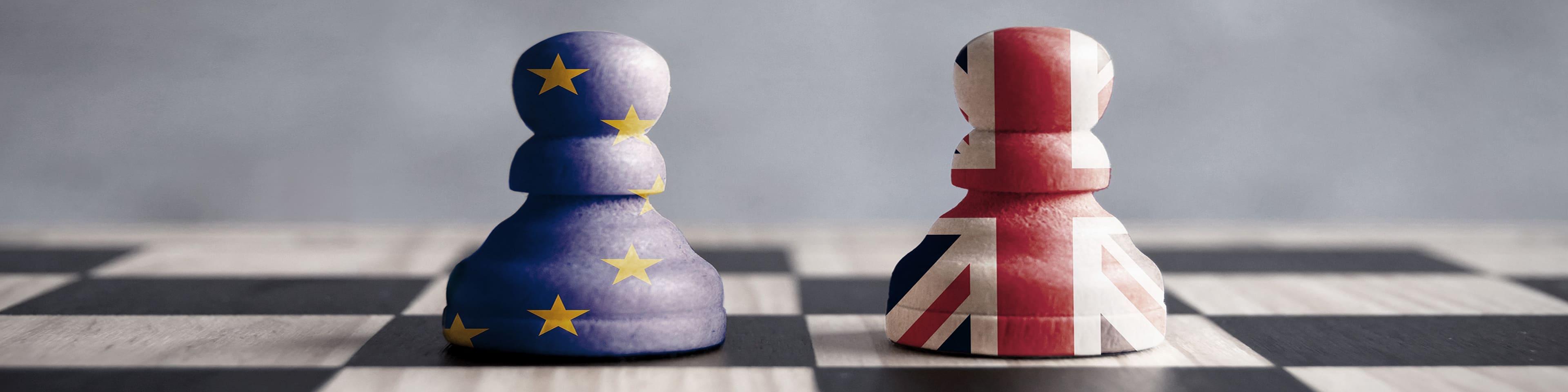 Twee schaakstukken op schaakbord