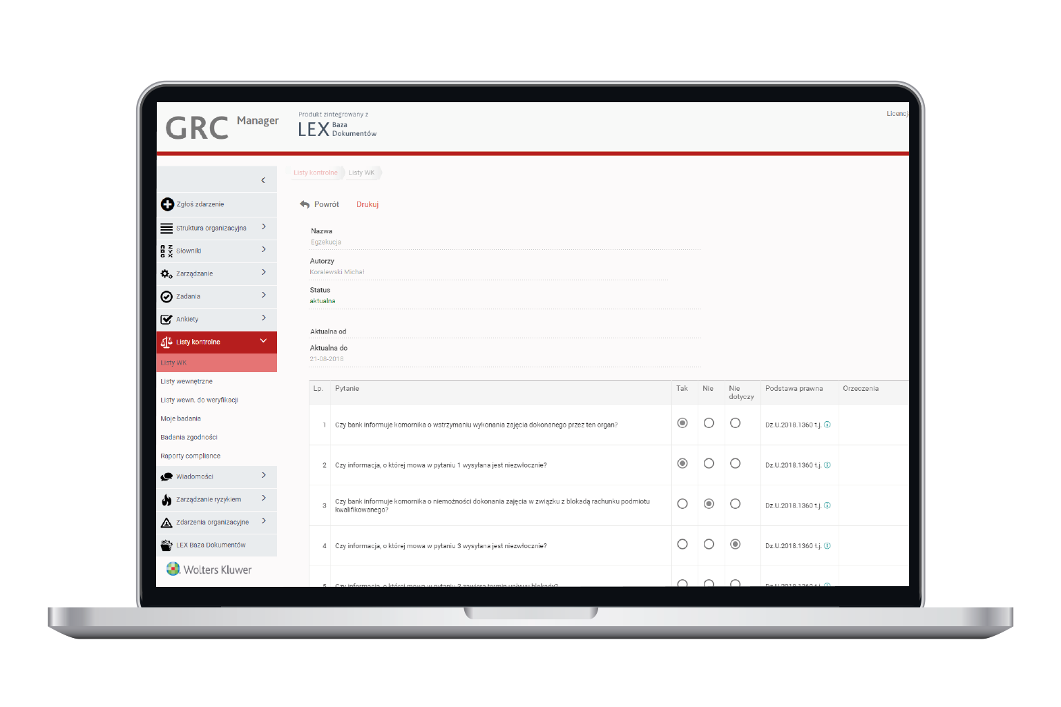 Testy zgodności w opogramowaniu GRC Manager