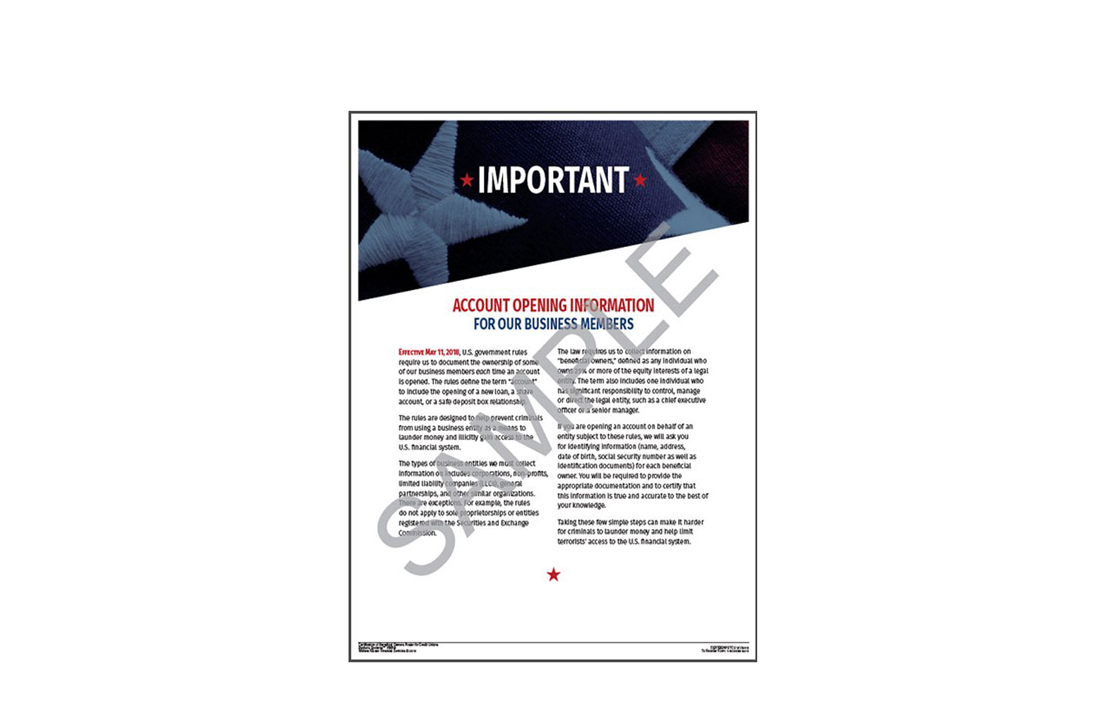 Certification of Beneficial Owners Poster Credit Union