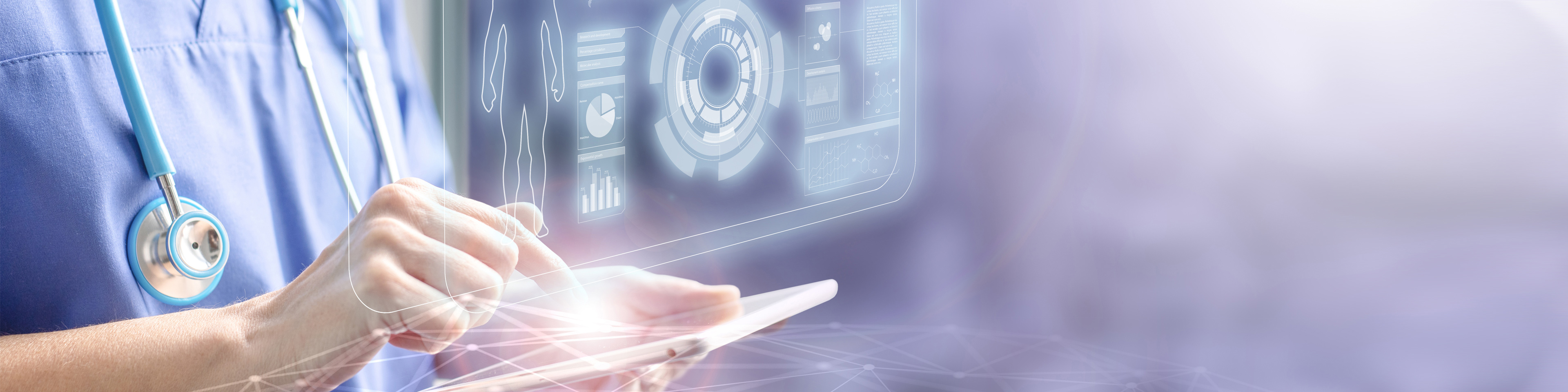Female doctor touching a tablet displaying the patient's data hologram concept of electronic medical information and futuristic technology in health care