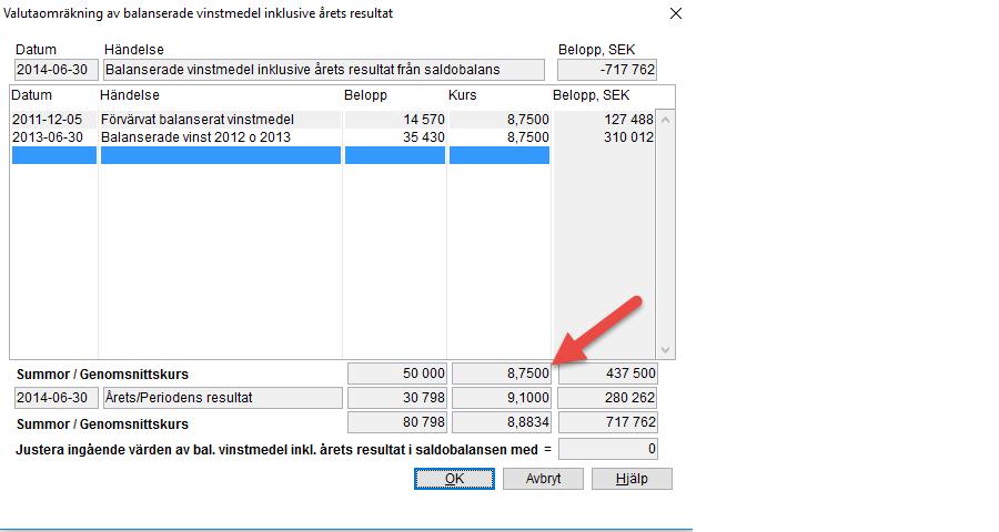 screenshot valutaomrakning