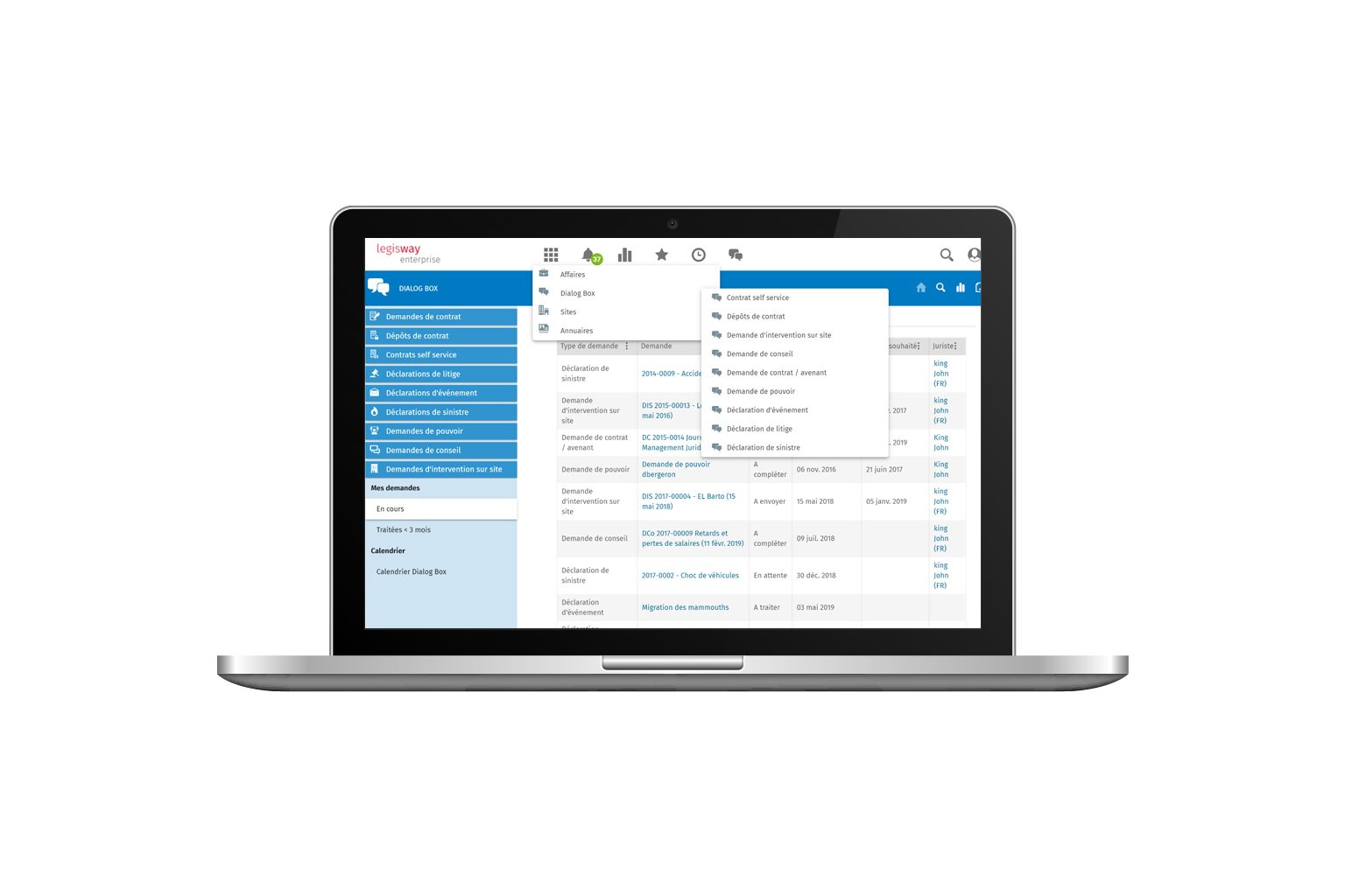 Legisway-Enterprise-DialogBox | Logiciel gestion de contrat