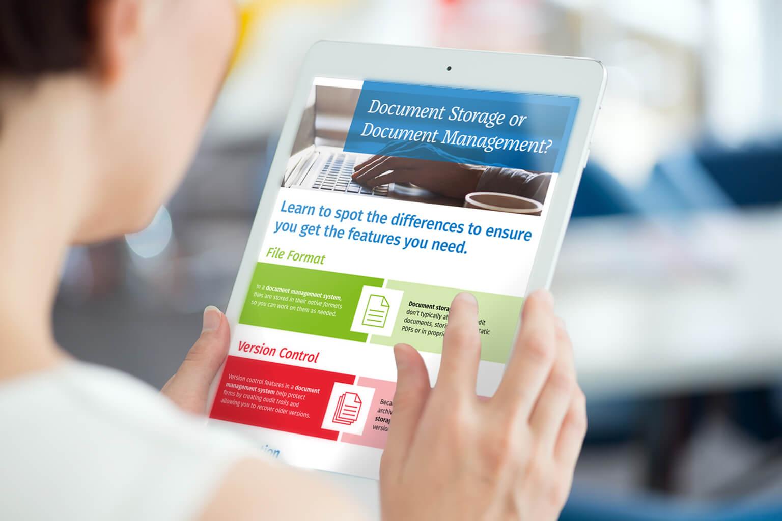 Document storage vs Document management infographic