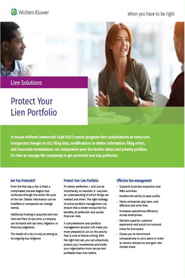 cover for brochure for Protect lien portfolio brochure