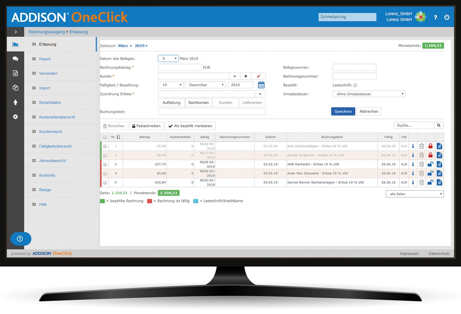 OneClick Rechnungsausgang
