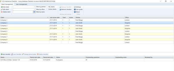 CCH Interactive Checklist Screenshot