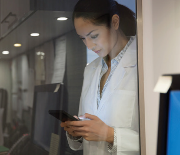 Woman looking at medical information on her phone
