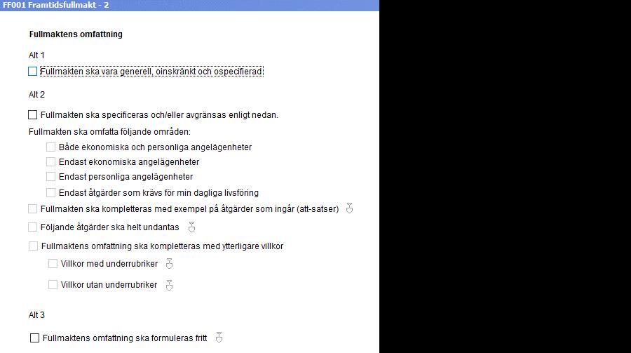 screenshot framtidsfullmakt i Dokument