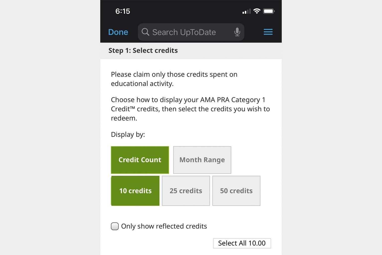 screenshot of CME redemption screen in UpToDate