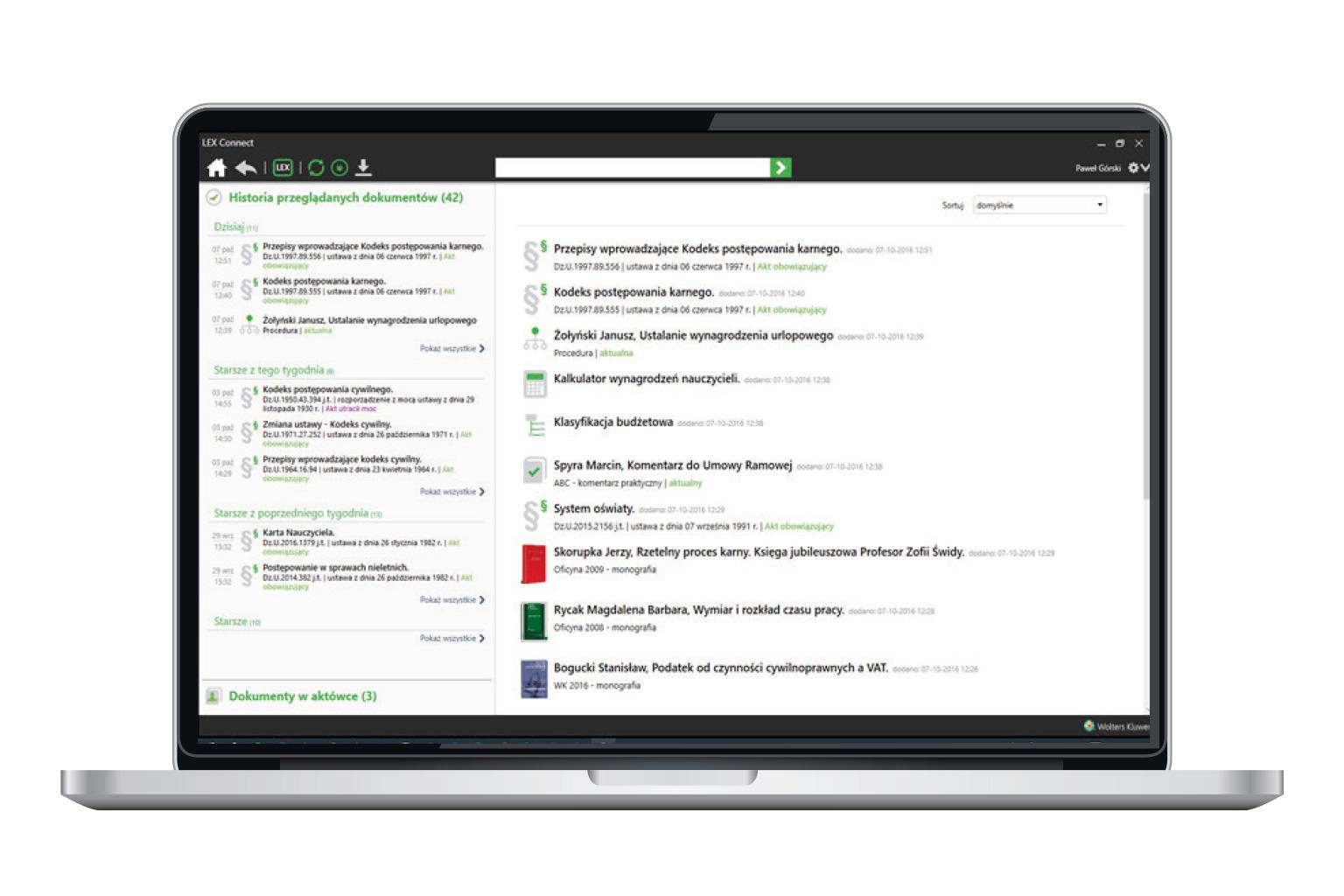 Okno narzędzia LEX Connect przedstawiające funkcję historia przeglądanych dokumentów