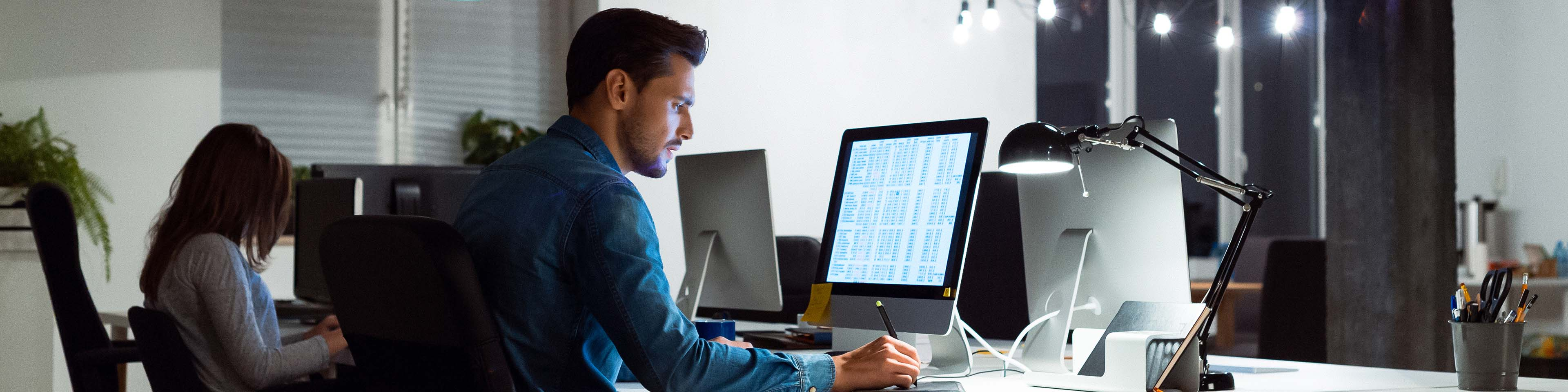 Businessman using computer by female colleague