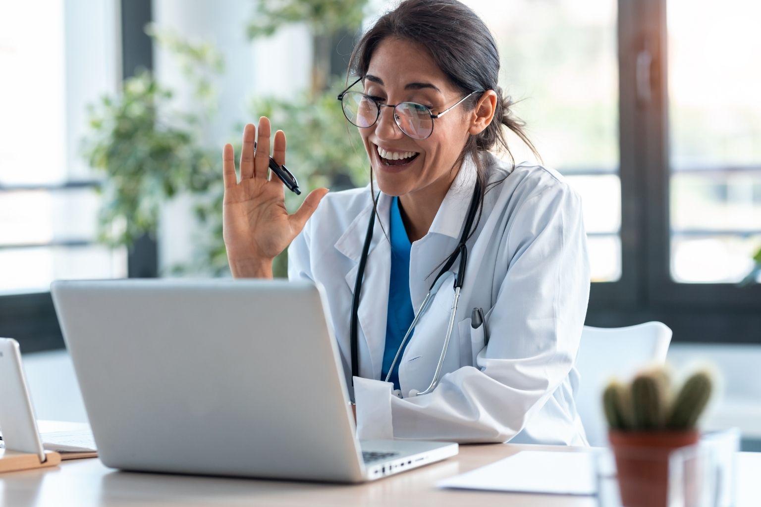 Doctor on telehealth call