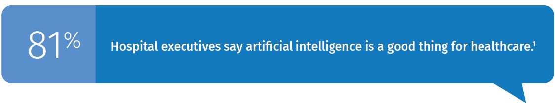 81% Hospital executives say artificial intelligence is a good thing for healthcare.