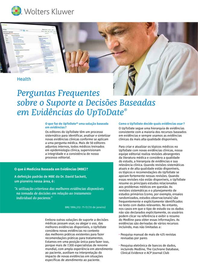 Screenshot of first page of FAQs About UpToDate® Evidence-Based Decision Support PDF