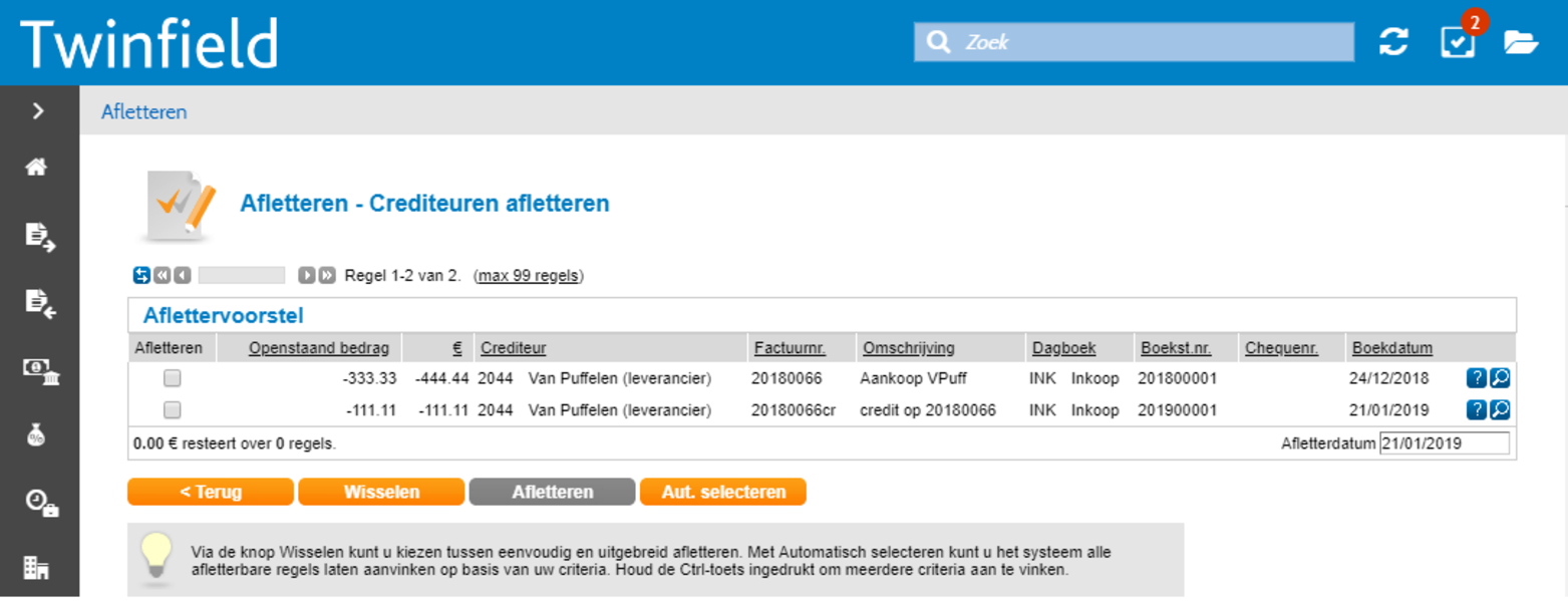 Screenshot Afletteren