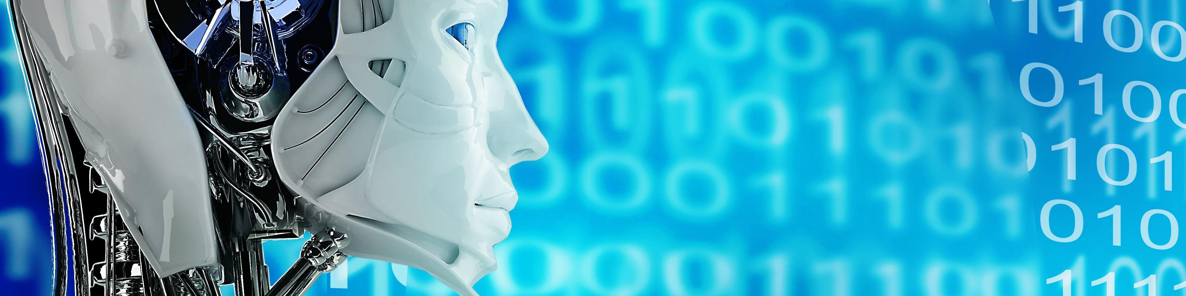 robot met binaire getallen op de achtergrond