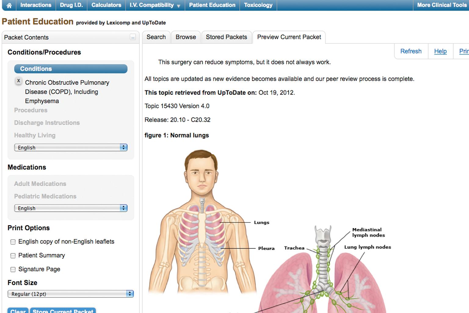 screenshot of Lexicomp patient education