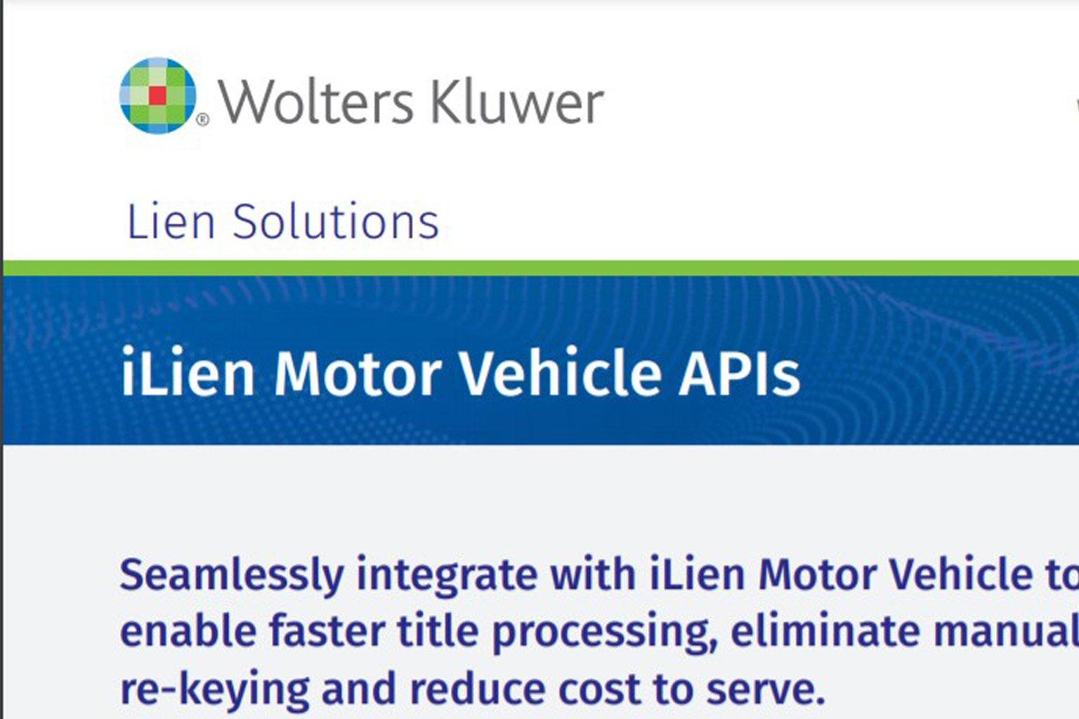 iLien Motor Vehicle APIs datasheet