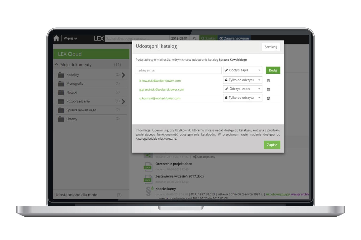 Okno programu LEX Cloud przedstawiające funkcję Udostępnianie katalogów