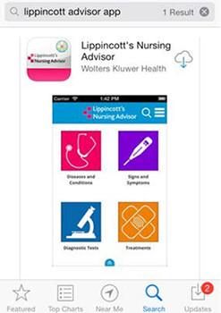 Lippincott Advisor App Installation Instructions screenshot: app store search