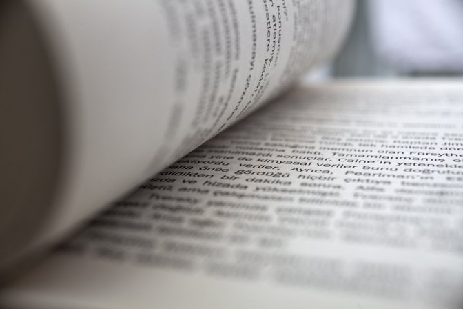 Close up on text in open book