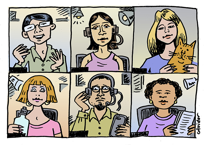 Illustration of people in online meeting doing different things while attending
