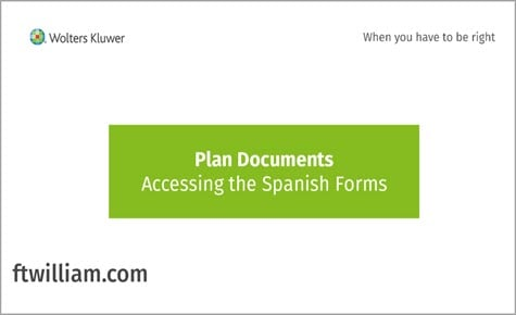 Plan Documents - Accessing the Spanish Forms