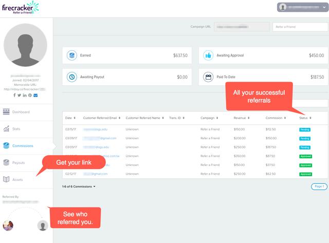 Screenshot of Firecracker Ambassador portal showing referral details