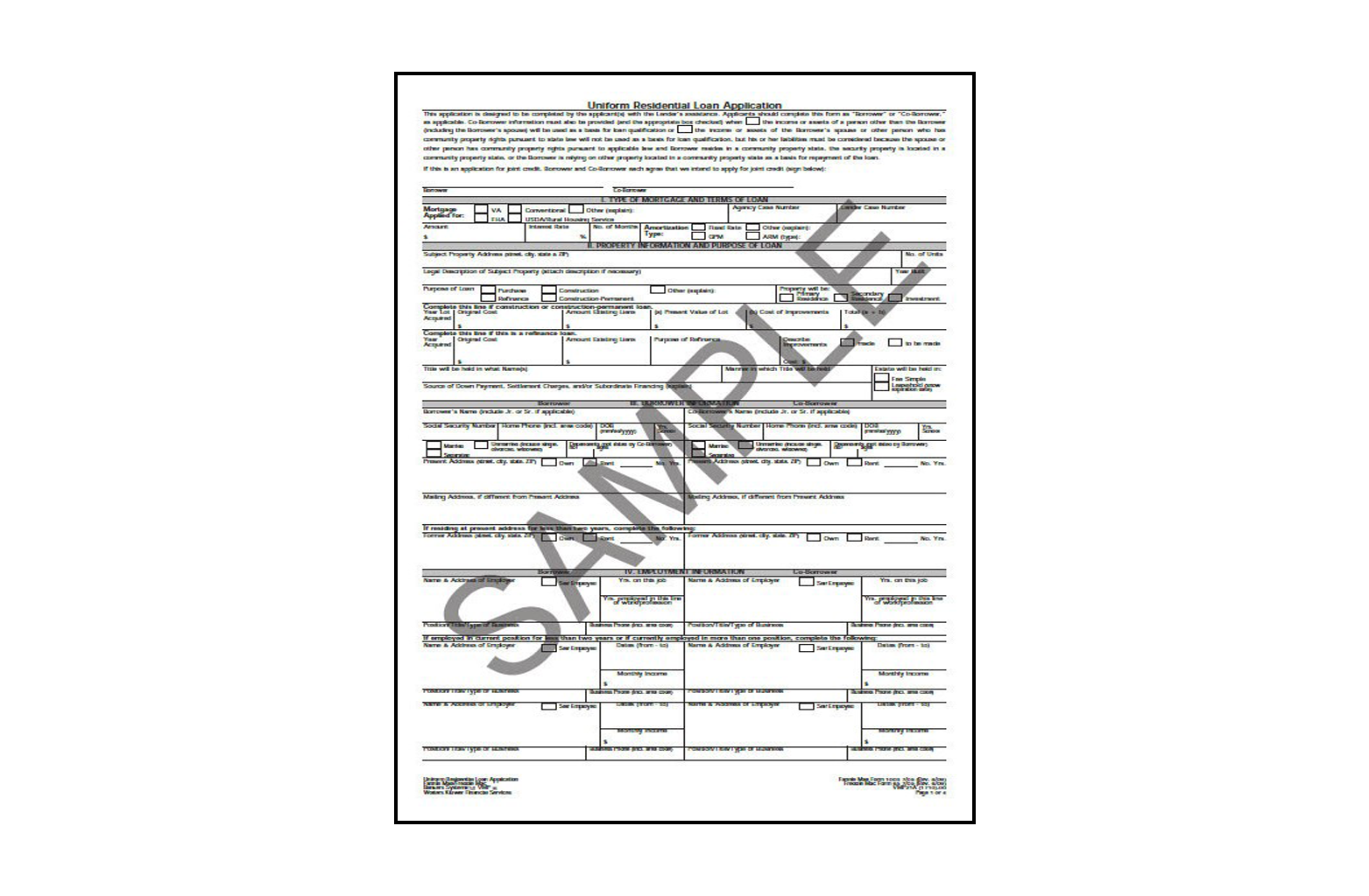 Uniform Residential Loan Application Interim