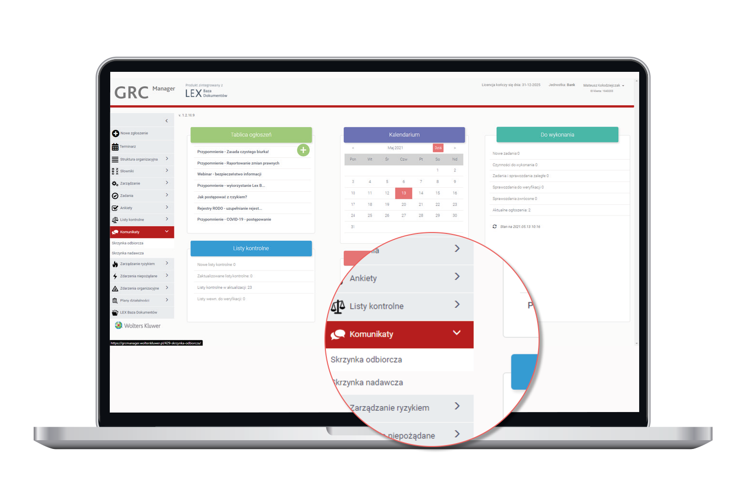 Komunikacja wewnętrzna w oprogramowaniu GRC Manager