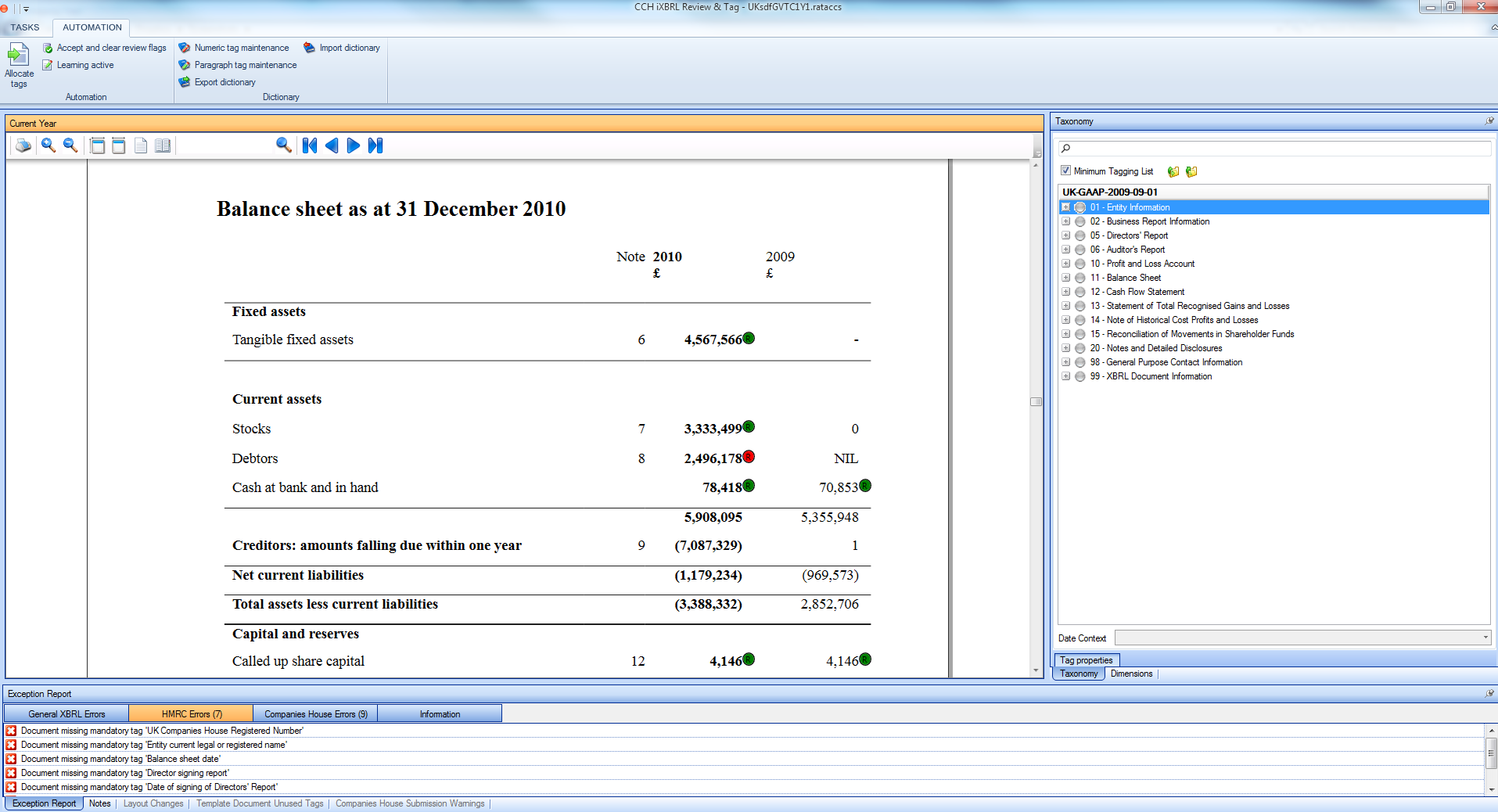 Traffic light system and exception reports speed up tagging