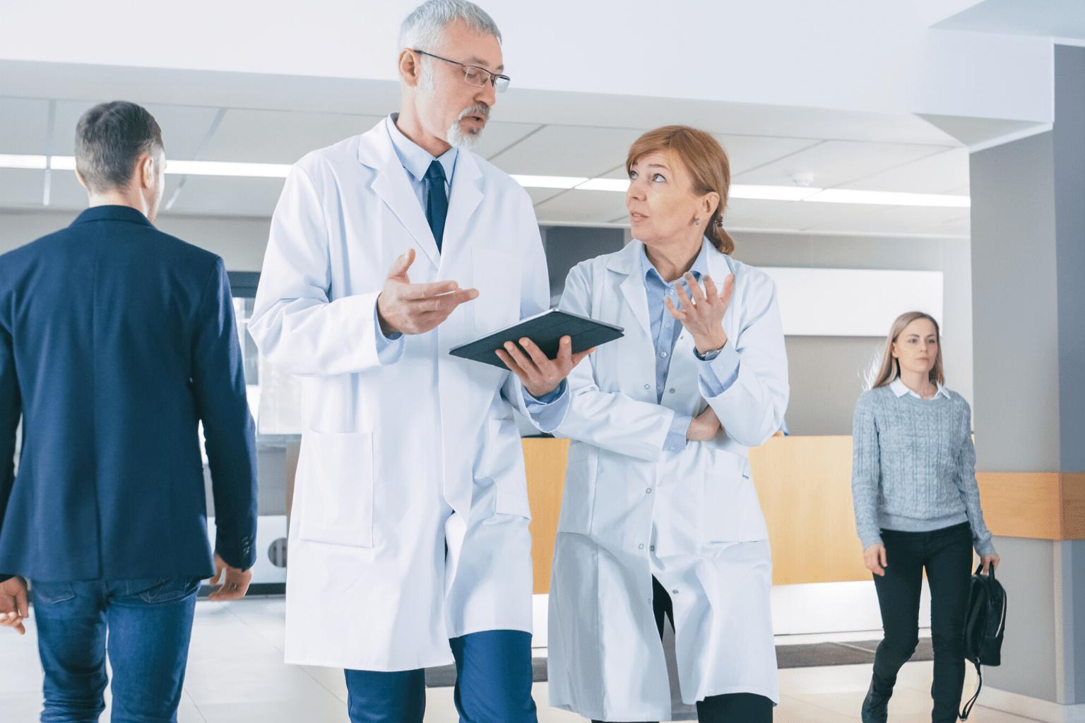 Clinicians discussing a patient case
