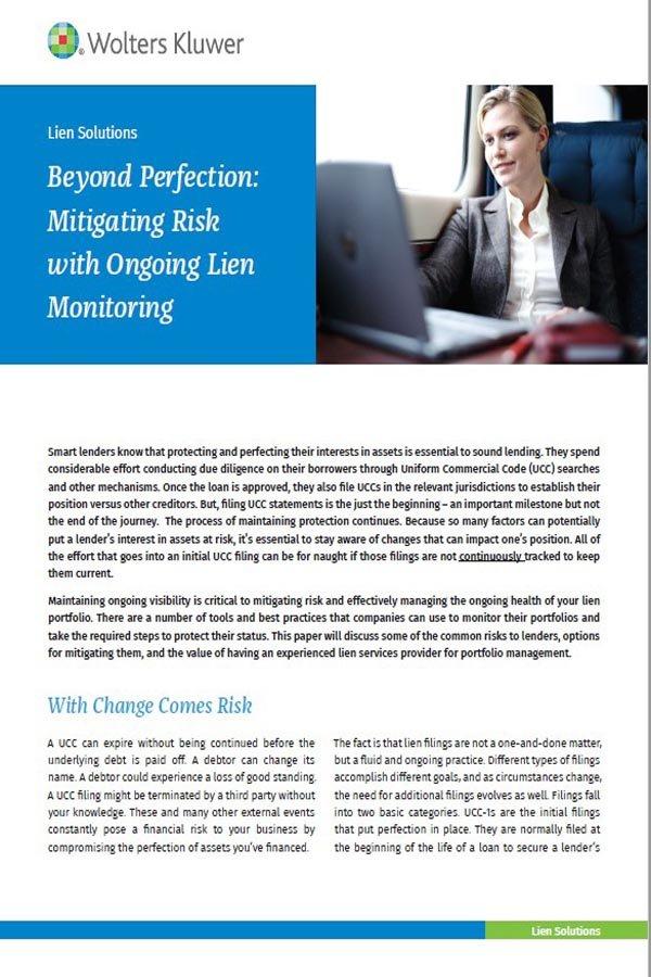 brochure cover for beyond risk mitigation post close filing