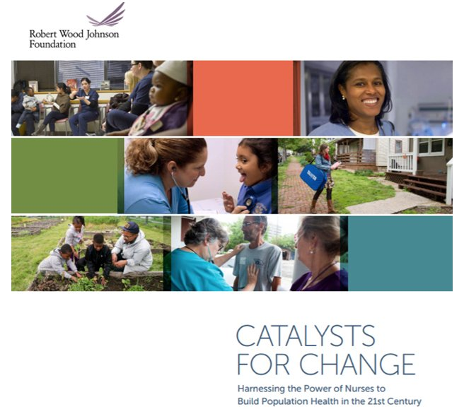 Collage image from Robert Wood Johnson Foundation that says Catalysts for Change, harnessing the power of nurses to build population health in the 21st century