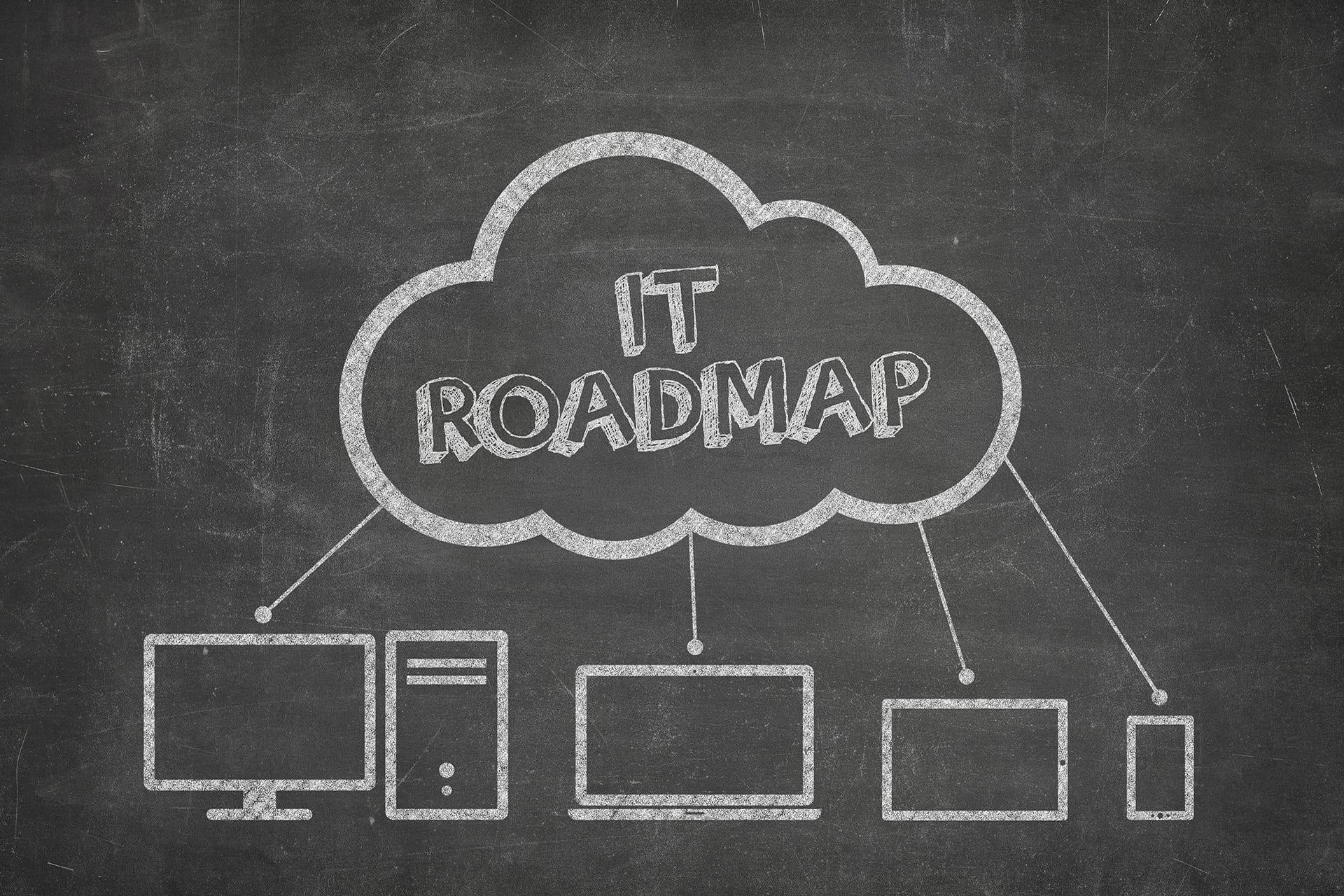 getekende wolk met IT Roadmap op een schoolbord