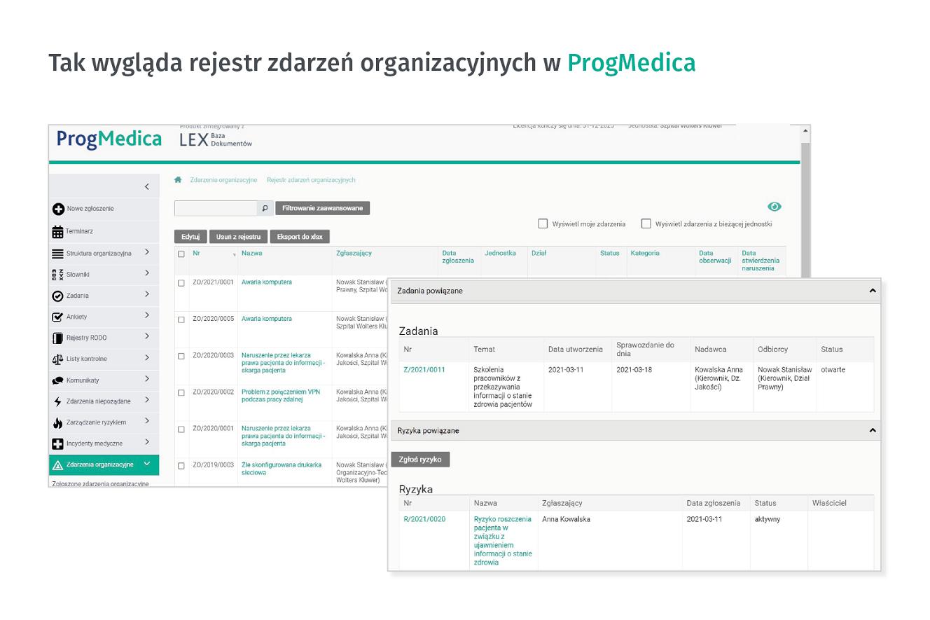 Zdarzenia organizacyjne w Progmedica