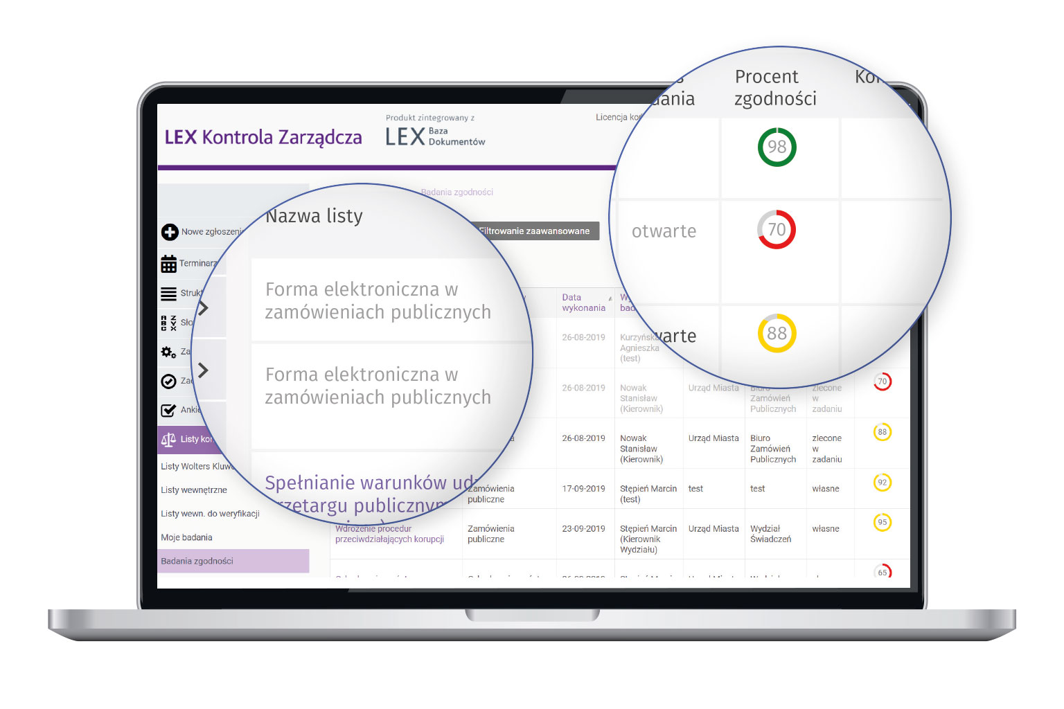 Widok programu LEX Kontrola Zarządcza przedstawiający monitorowanie zgodności z prawem w oparciu o listy kontrolne