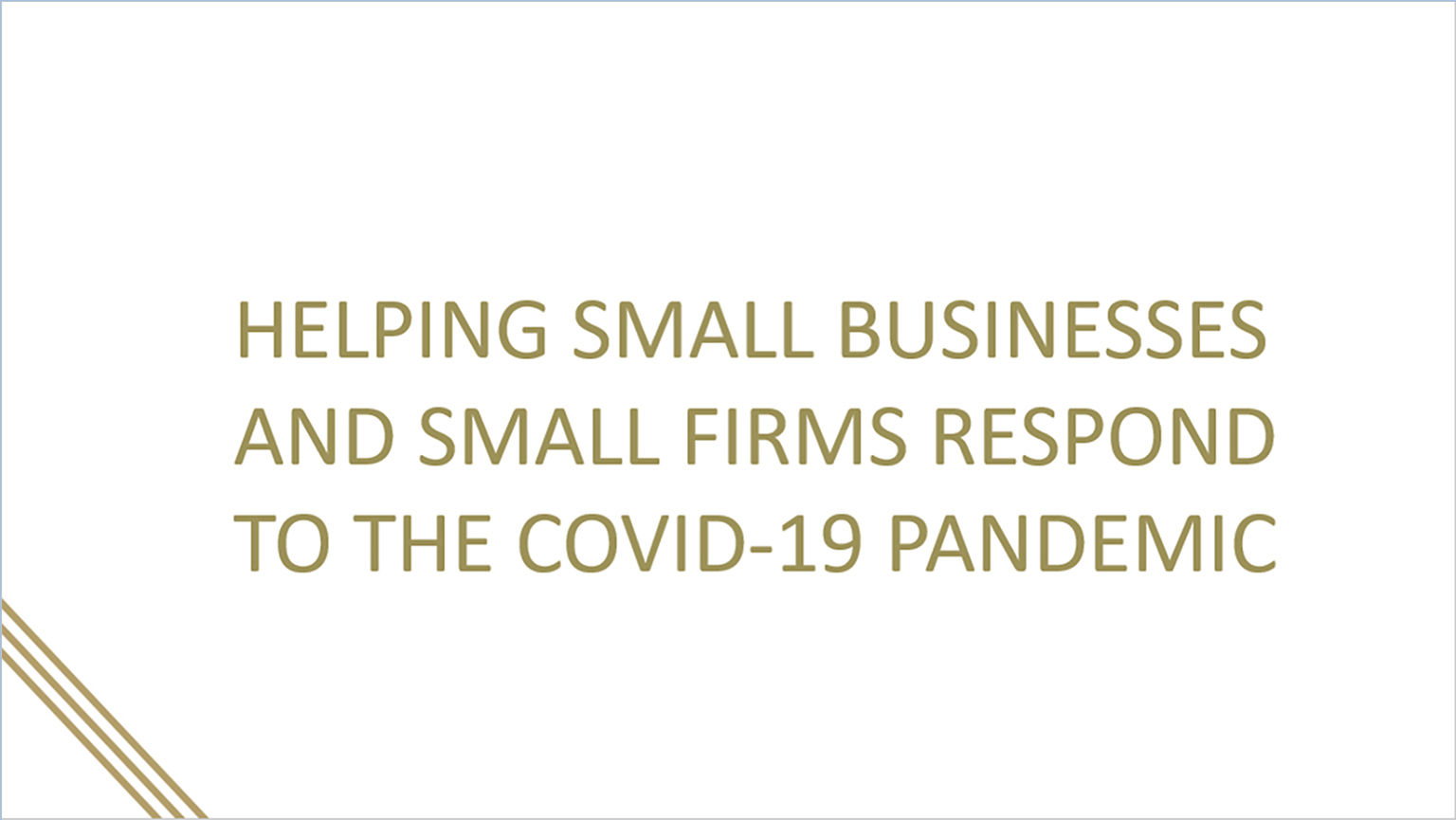 On-demand webinar: Helping small businesses and small firms respond to the COVID-19 pandemic