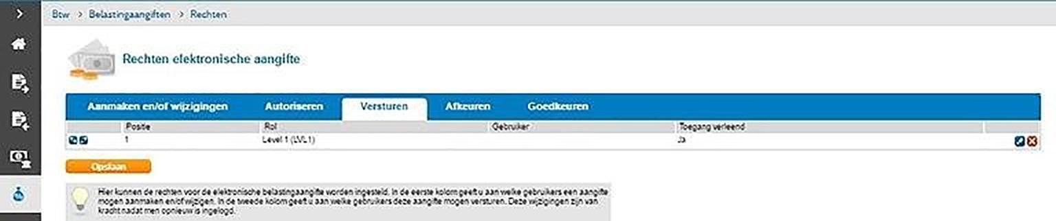 Screenshot rechten voor versturen Btw-aangifte