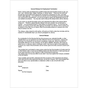General Release for Employment Termination