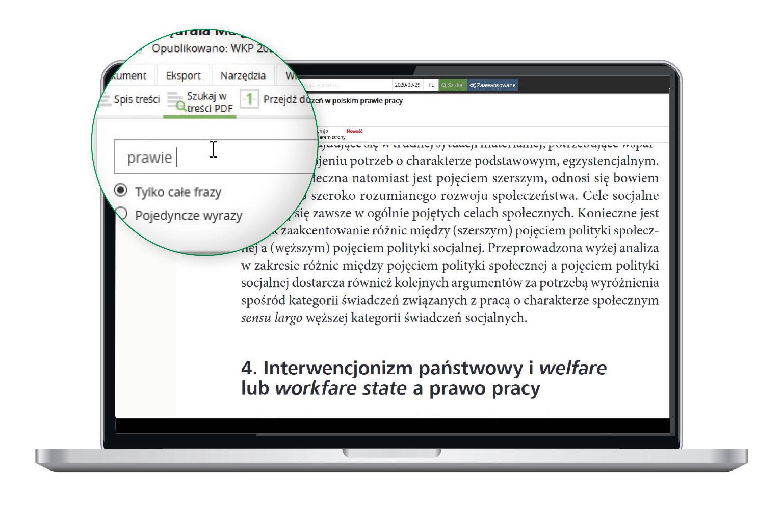 Wyszukiwanie w książce online w LEX Context