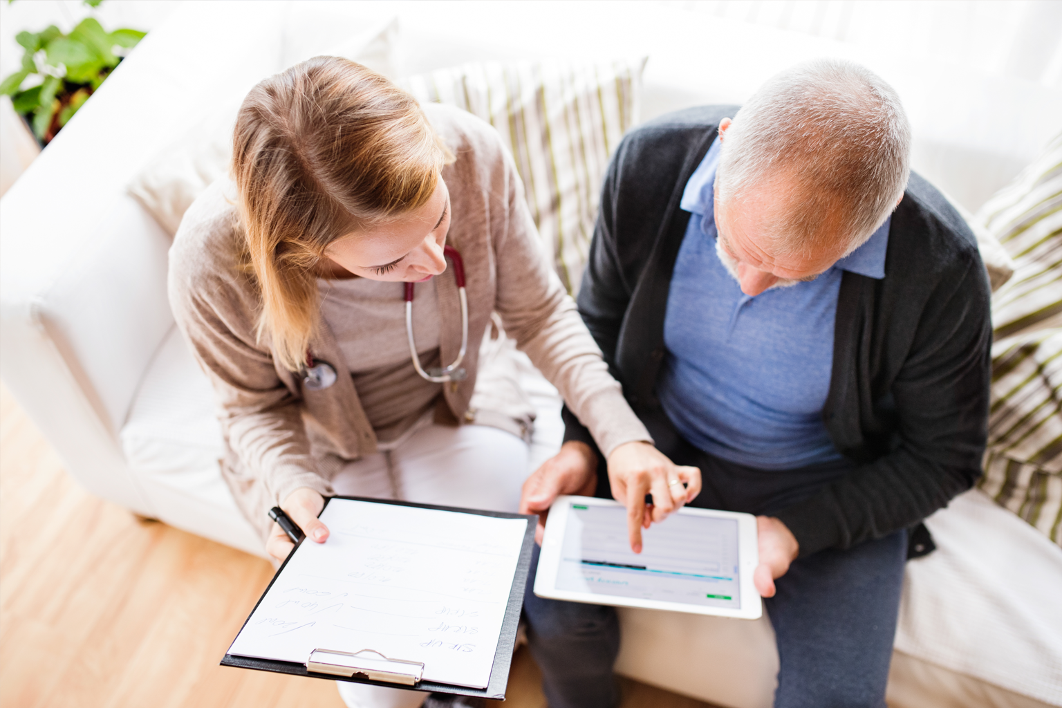 Health professional and patient home visit