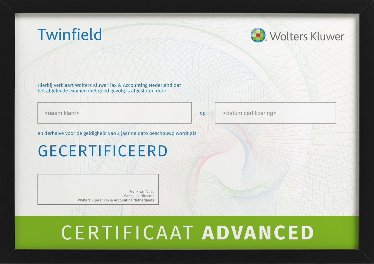 Certificaat met bewijs van deelname aan training Twinfield Boekhouden Advanced