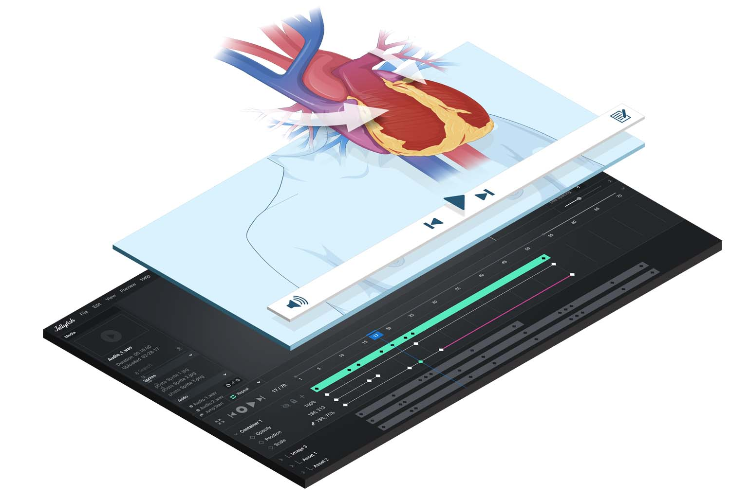 graphic overlay of heart and video panel