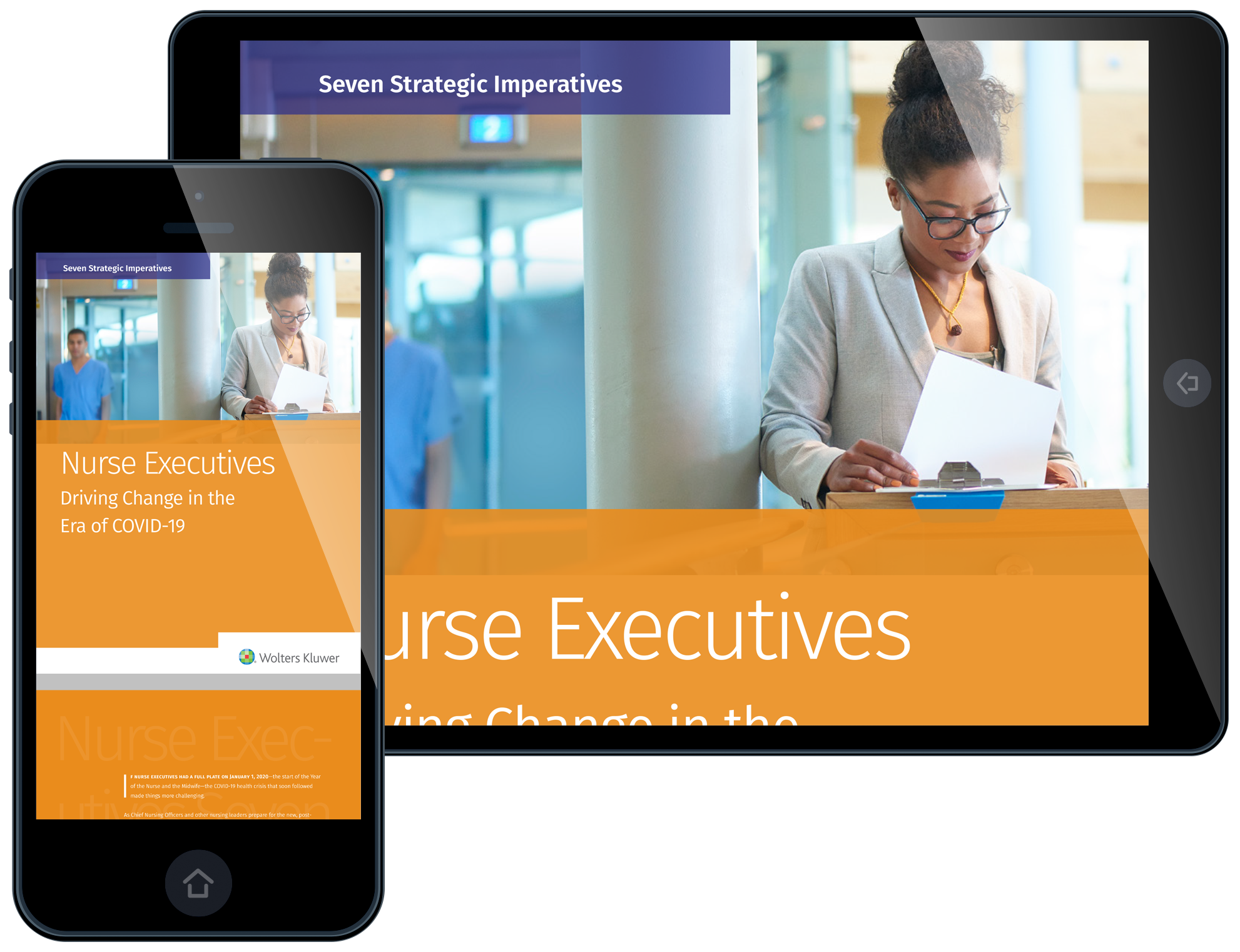 Cover of Nurse Executives Driving Change in the Era of COVID-19 report on smartphone and tablet